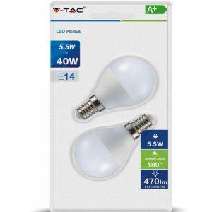 Żarówka LED V-TAC 5.5W E14 P45 Kulka (Blister 2szt) VT-2146 2700K 470lm