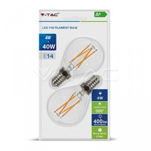 Żarówka LED V-TAC 4W Cross Filament E14 P45 Kulka Przezroczysta (Blister 2szt) VT-2184 2700K 400lm