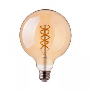 Żarówka LED V-TAC 5W E27 Filament Bursztynowa Kula G125 Ściemnialna VT-2085D 2200K 300lm