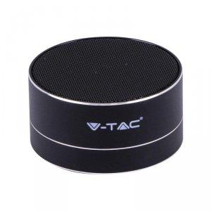 Przenośny Metalowy Głośnik Bluetooth Micro SD Mikrofon 400mah Czarny V-TAC VT-6133