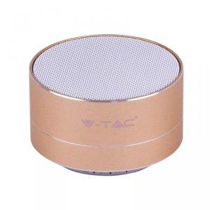 Przenośny Metalowy Głośnik Bluetooth Micro SD Mikrofon 400mah Złoty V-TAC VT-6133