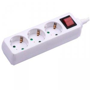 Przedłużacz 3 gniazda z włącznikiem V-TAC (3G 1.5MM2 X 5M) Biały VT-1113