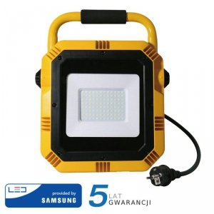 Projektor Przenośny LED V-TAC 50W SAMSUNG CHIP IP65 3mb VT-51 6400K 4000lm 5 Lat Gwarancji