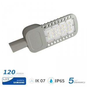 Oprawa Uliczna LED V-TAC SAMSUNG CHIP 30W Soczewki 110st 120lm/W VT-34ST 6400K 3600lm 5 Lat Gwarancji