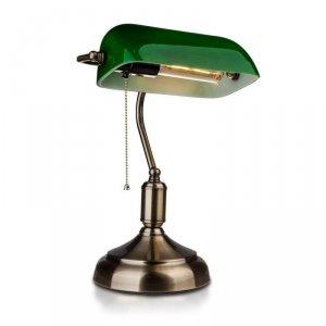 Lampa Bankierska V-TAC E27 Stare Złoto Zielony Klosz VT-7151