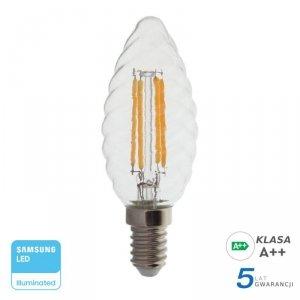 Żarówka LED V-TAC SAMSUNG CHIP 4W E14 Filament Świeczka Twist VT-274 2700K 400lm 5 Lat Gwarancji