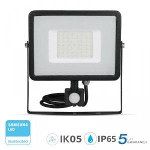 Projektor LED V-TAC 50W SAMSUNG CHIP Czujnik Ruchu Funkcja Cut-OFF Czarny VT-50-S 3000K 4000lm 5 Lat Gwarancji