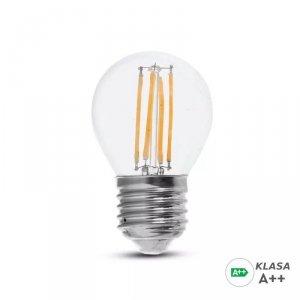 Żarówka LED V-TAC 6W Filament E27 Kulka G45 A++ Przeźroczysta VT-2386 6400K 800lm