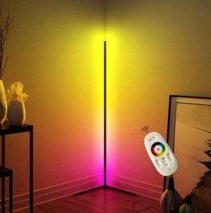 NOWOCZESNA LAMPA stojąca narożna RGB LED + pilot
