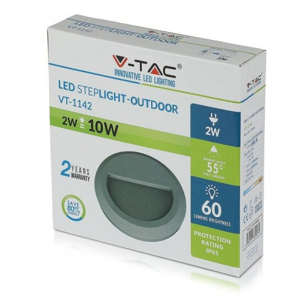 Oprawa Schodowa 2W LED V-TAC Szara Okrągła 230V IP65 VT-1142 3000K 60lm