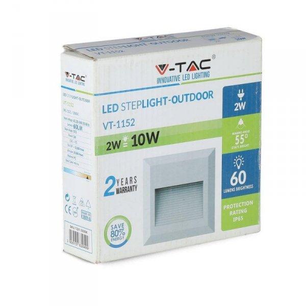 Oprawa Schodowa 2W LED V-TAC Biały Kwadrat 230V IP65 VT-1152 4000K 60lm