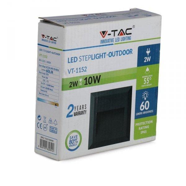 Oprawa Schodowa 2W LED V-TAC Czarny Kwadrat 230V IP65 VT-1152 3000K 60lm