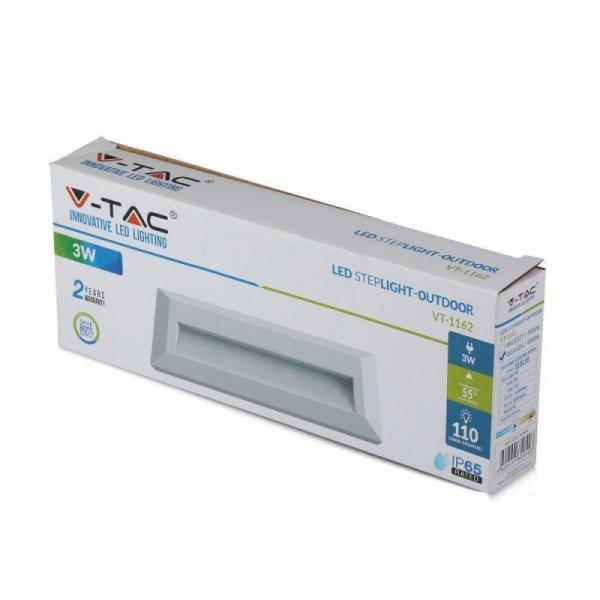 Oprawa Schodowa 3W LED V-TAC Biały Prostokąt 230V IP65 VT-1162 4000K 110lm