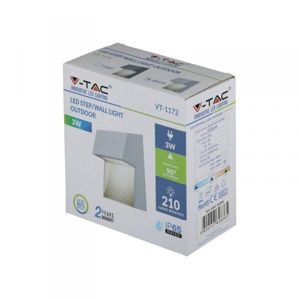 Oprawa Ścienna Elewacyjna 3W LED V-TAC Biały Kwadrat 230V IP65 VT-1172 4000K 210lm
