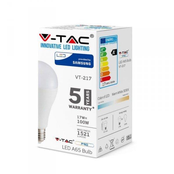 Żarówka LED V-TAC SAMSUNG CHIP 17W E27 A65 VT-217 6400K 1521lm 5 Lat Gwarancji
