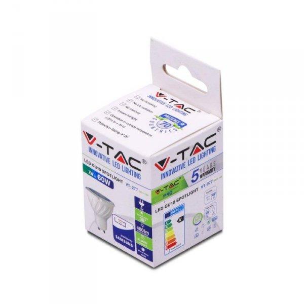Żarówka LED V-TAC SAMSUNG CHIP 7W GU10 38st VT-277 6400K 480lm 5 Lat Gwarancji