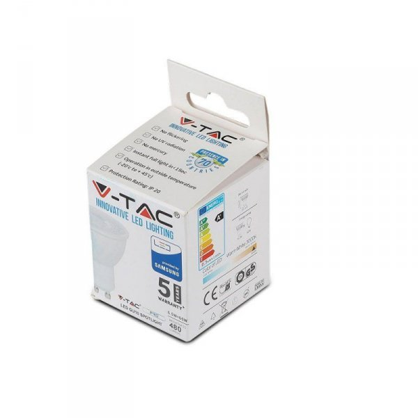 Żarówka LED V-TAC SAMSUNG CHIP 6.5W GU10 110st VT-247 3000K 480lm 5 Lat Gwarancji