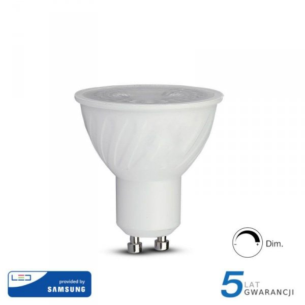 Żarówka LED V-TAC SAMSUNG CHIP 6.5W GU10 38st Ściemnialna VT-227 4000K 450lm 5 Lat Gwarancji
