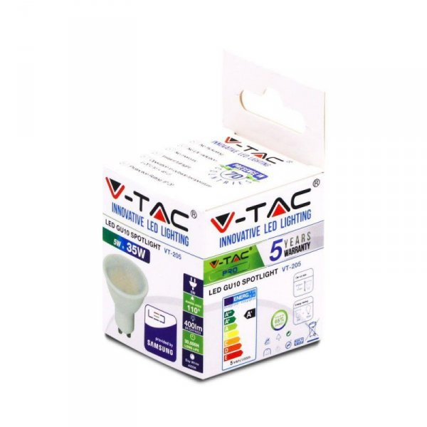 Żarówka LED V-TAC SAMSUNG CHIP 5W GU10 110st VT-205 6400K 400lm 5 Lat Gwarancji