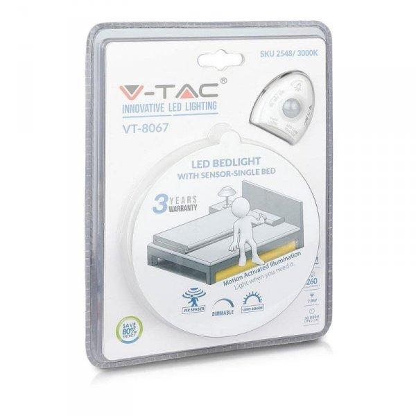 Nocne Oświetlenie LED V-TAC Czujnik Ruchu Pojedyncze Łóżko VT-8067 4000K 260lm 3 Lata Gwarancji