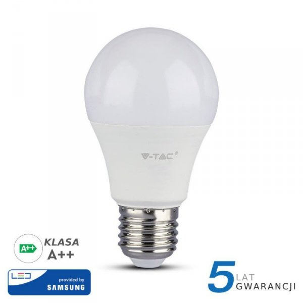 Żarówka LED V-TAC SAMSUNG CHIP 6.5W E27 A++ A60 VT-265 6400K 806lm 5 Lat Gwarancji