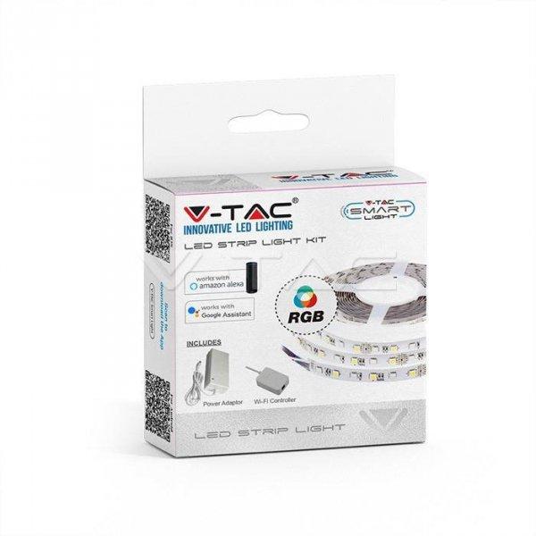 Zestaw LED V-TAC 10W 5050/60 WiFi Controler IP20 Zestaw kompatybilny z ALEXA i GOOGLE HOME VT-5050 RGB 1000lm