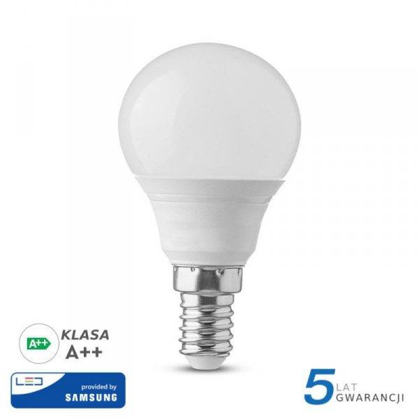 Żarówka LED V-TAC SAMSUNG CHIP 4.5W E14 A++ Kulka P45 VT-225 3000K 470lm 5 Lat Gwarancji