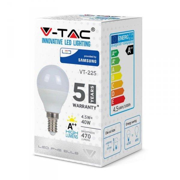 Żarówka LED V-TAC SAMSUNG CHIP 4.5W E14 A++ Kulka P45 VT-225 4000K 470lm 5 Lat Gwarancji
