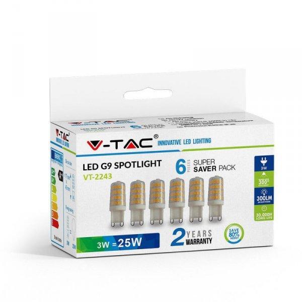 Żarówka LED V-TAC 3W G9 (Opak. 6szt) VT-2243 4000K 300lm