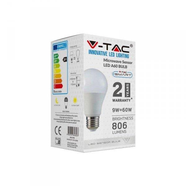 Żarówka LED V-TAC 9W E27 A60 Czujnik Mikrofalowy VT-2219 4000K 806lm