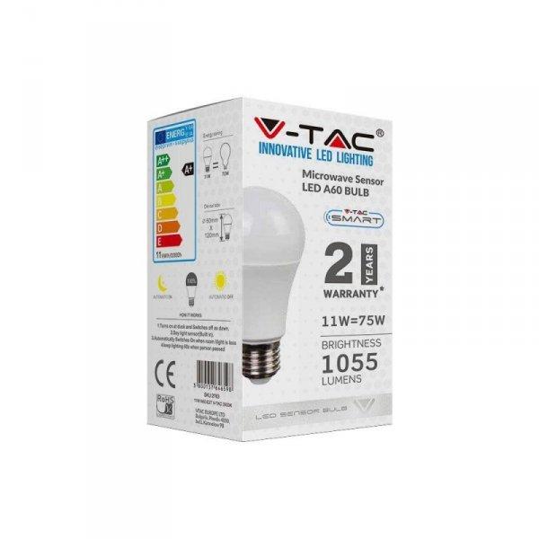 Żarówka LED V-TAC 11W E27 A60 Czujnik Mikrofalowy VT-2211 4000K 1055lm