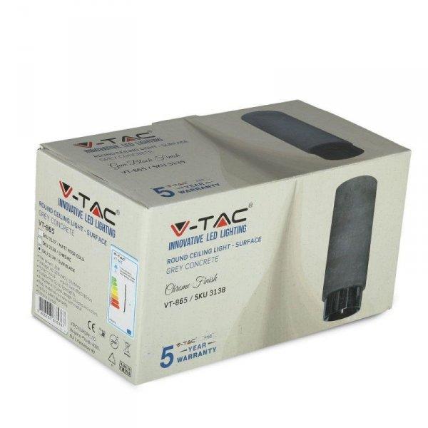 Oprawa V-TAC GIPS BETON GU10 Natynkowa Szary/Czarny Mat VT-865 5 Lat Gwarancji