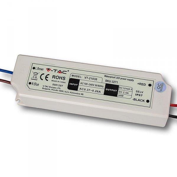 Zasilacz LED V-TAC 30W 12V 2.5A IP67 Hermetyczny Filtr EMI VT-21030