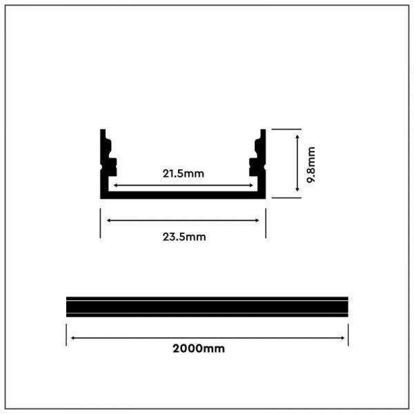 Profil Aluminiowy V-TAC 2mb Anodowany, Klosz Mleczny, Na dwie taśmy VT-8108
