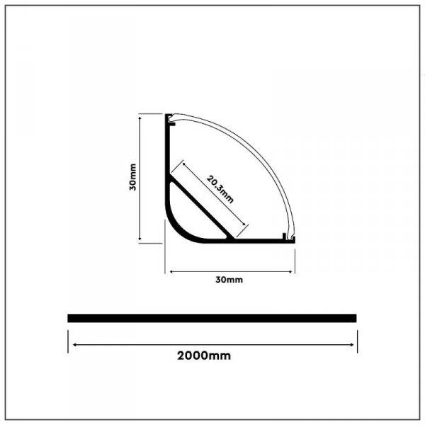 Profil Aluminiowy V-TAC 2mb Anodowany, Klosz Mleczny, Kątowy, Na dwie taśmy VT-8105