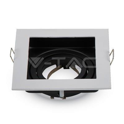 Oprawa Oczko V-TAC Aluminiowa GU10 Kwadrat Biała/Czarna VT-781