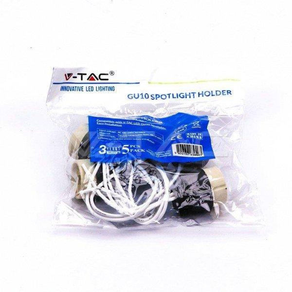Oprawka Ceramiczna Gniazdo GU10 (Opak. 5szt) PVC V-TAC VT-791