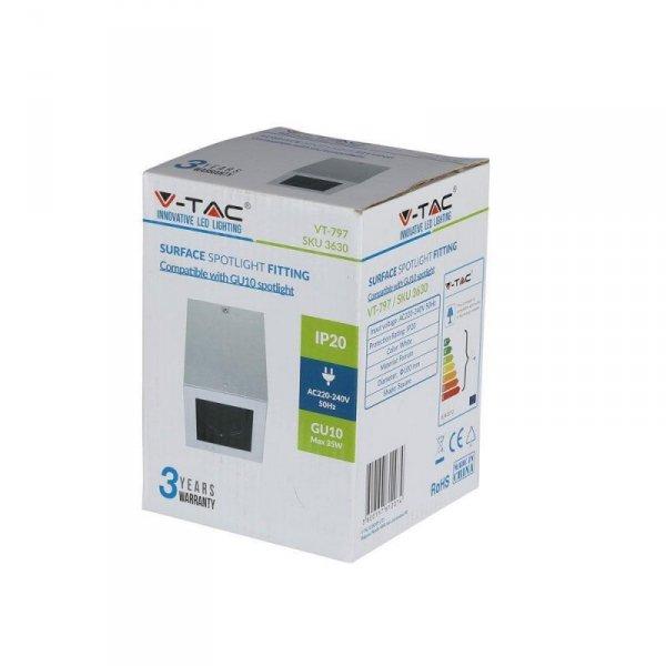 Oprawa V-TAC Aluminiowa GU10 Kostka Kwadrat Natynkowa Biała+Czarny 142x100x100 VT-797