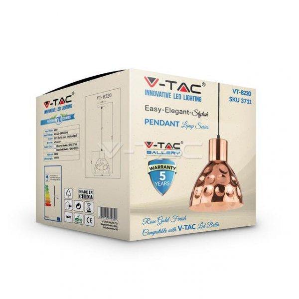 Oprawa Wisząca V-TAC Różowe Złoto fi220 VT-8220 5 Lat Gwarancji