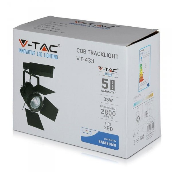 Oprawa 33W LED V-TAC Track Light SAMSUNG CHIP CRI90+ Czarna VT-433 5000K 2800lm 5 Lat Gwarancji
