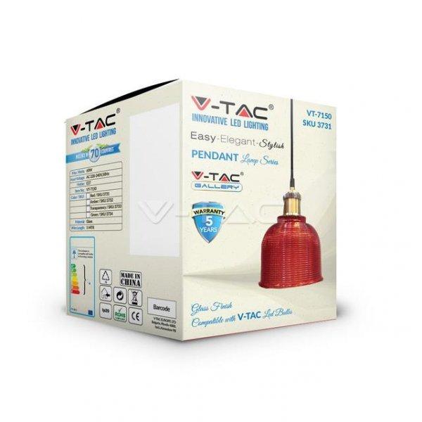 Oprawa Wisząca V-TAC LOFT Szkło Czerwony fi145 VT-7150 5 Lat Gwarancji