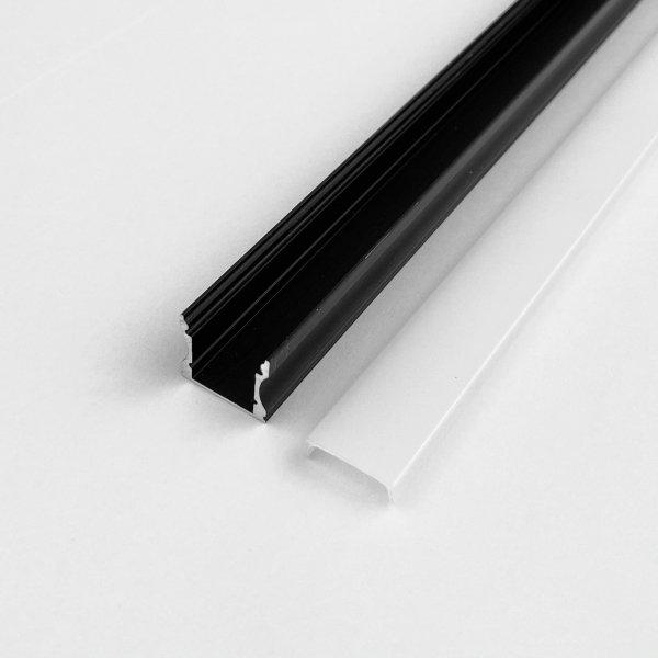 Profil LP-Y czarny prosty głęboki 1m kpl. klosz zaślepki uchwyty