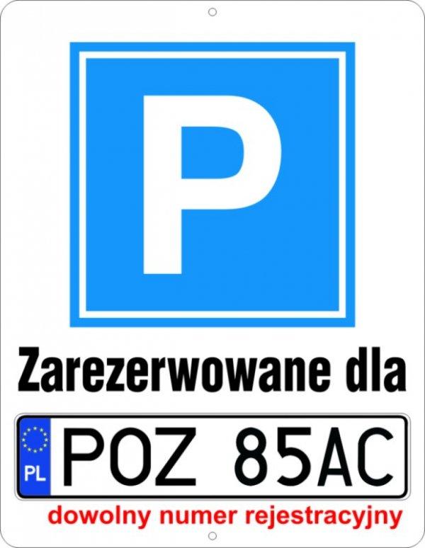 Parking Zarezerowane dla  (tablica rejestracyjna)