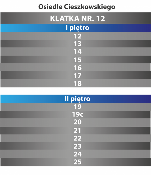 Tablica klatka schodowa numery mieszkań 30/35cm