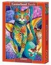 Puzzle 1500 elementów Kot kolorowy Feline Fiesta