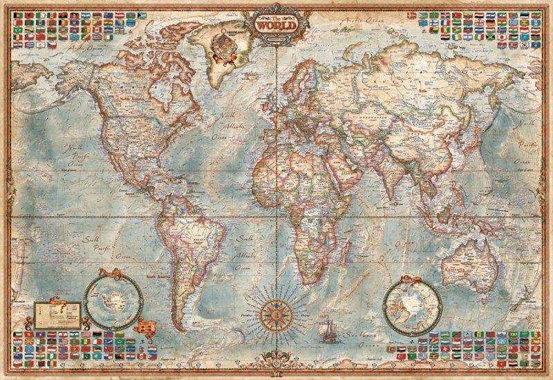 Puzzle 1000 elementów, Polityczna mapa świata