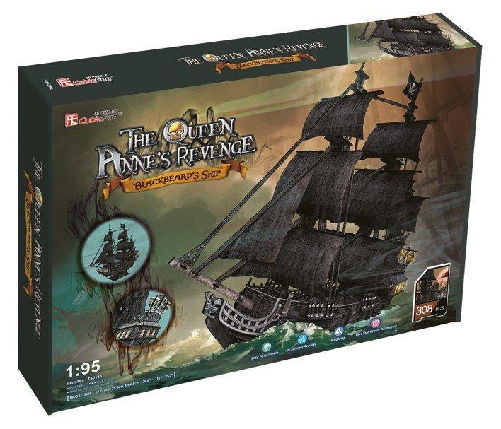 Puzzle 3D Duży zestaw okręt piracki Zemsta Królow