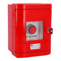 Przycisk wystający 1Z 1R czerwony w obudowie OBC pierścień niklowany SP22-WC-11/OBC/A
