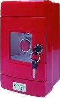 Przycisk wystający 1R czerwony w obudowie OBC pierścień niklowany SP22-WC-01/OBC/AM