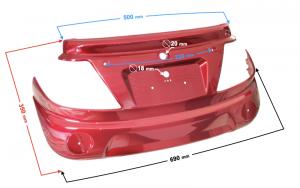 Obudowa tylna skuter Tres czerwona
